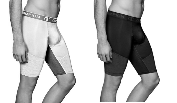 black and white color champion powerflex shorts